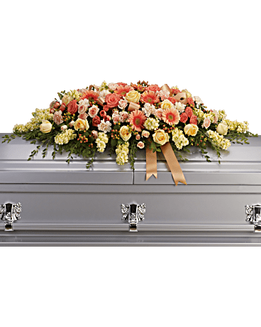warmest remembrance casket spray sympathy arrangement teleflora