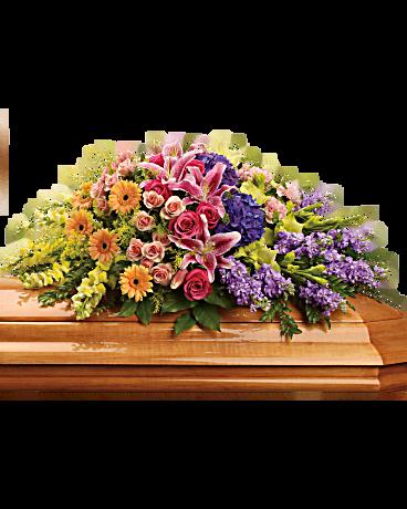 garden of sweet memories casket spray sympathy arrangement teleflora