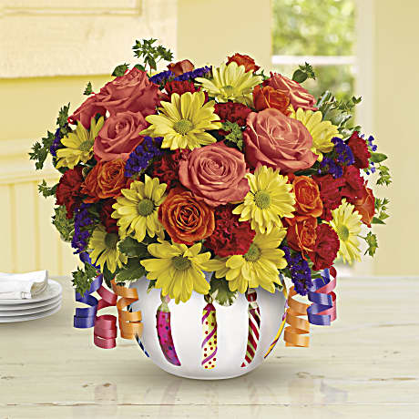 Teleflora S Brilliant Birthday Blooms Bouquet Teleflora