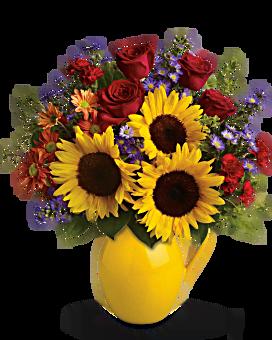Teleflora's Sunny Day Pitcher of Joy Bouquet