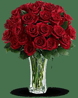 Amour et dévouement - bouquet de roses rouges à longues tiges