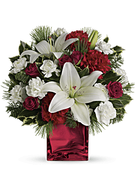 Caroling in the Snow by Teleflora Flower Arrangement