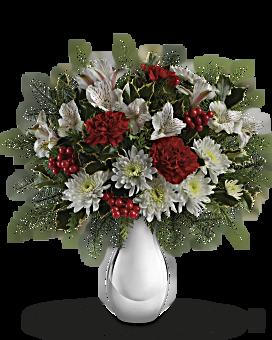 Teleflora's Silver And Snowflakes Bouquet Bouquet